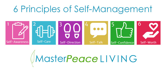 Graphic illustrating the 6 principles of self-management