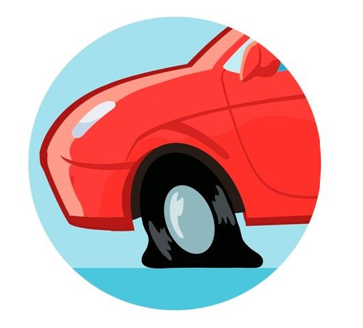 Graphic of a flat tire