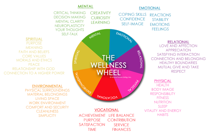 Graphic explaining the Wellness Wheel